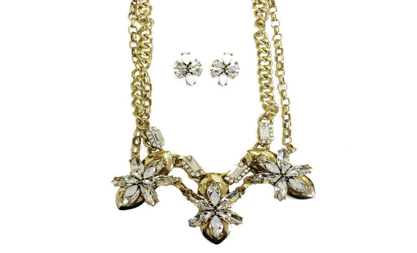 Czech Crystal & Gold Layered Necklace & Stud Earrings