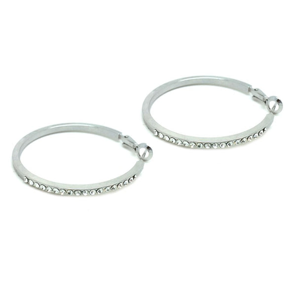 18k white gold large loop earrings