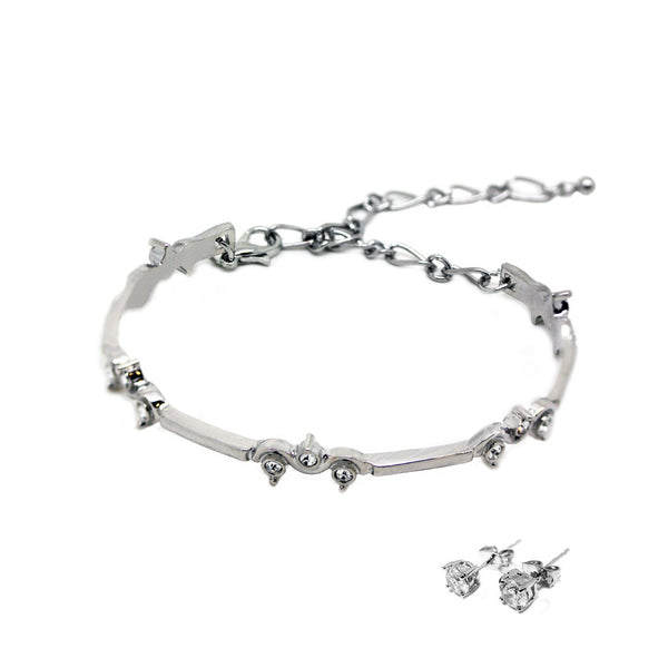 Designer Style Bracelet & Earrings Set White Gold