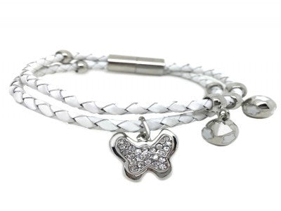 Leather butterfly bracelet silver / white