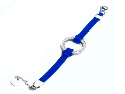 18k White Gold Plated Leather Loop Bracelet Blue