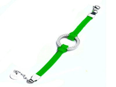 18k white gold plated Leather loop bracelet Green