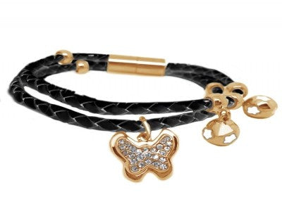 Leather butterfly bracelet Black/Rose Gold