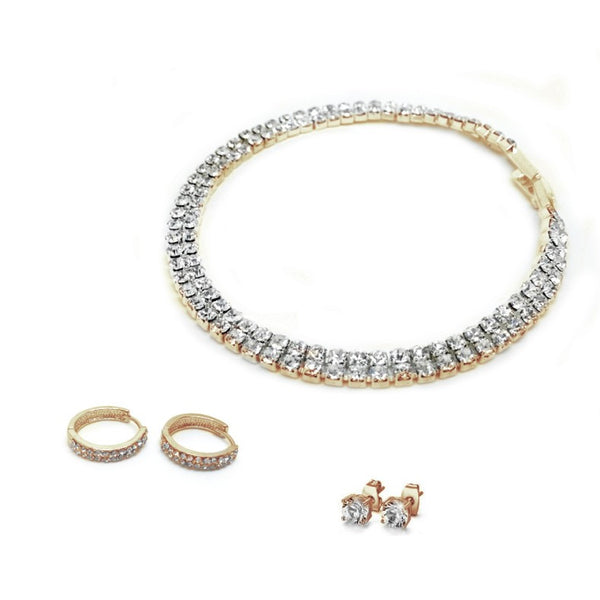 Two Row Pave - Loop Earrings & Solitaire Gold