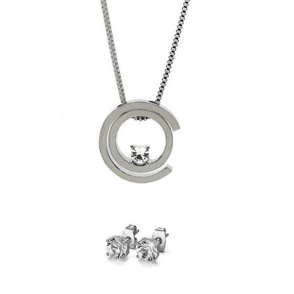 Dreamworks pendant and earring set silver