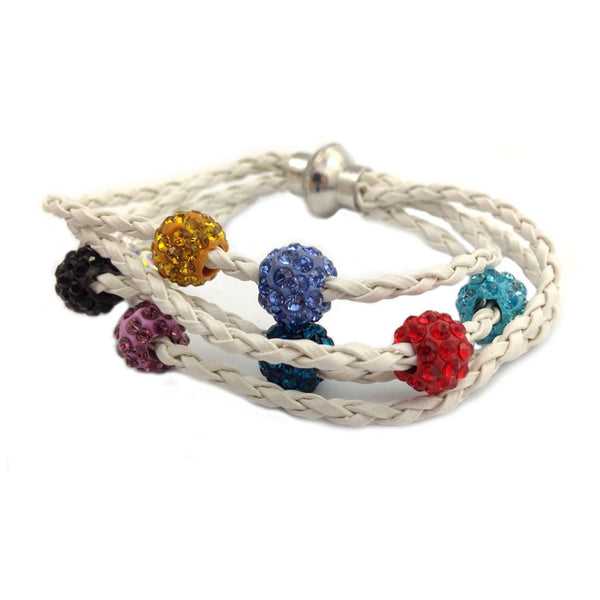 LEATHER SHAMBALLA BRACELET - WHITE