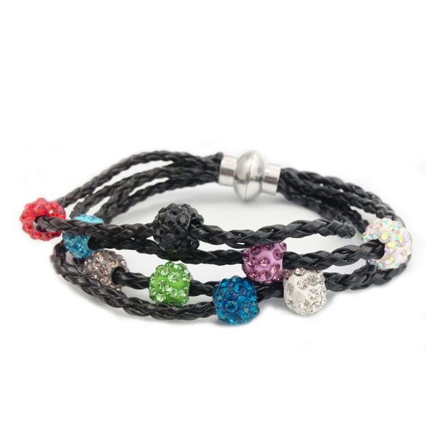 LEATHER SHAMBALLA BRACELET - BLACK