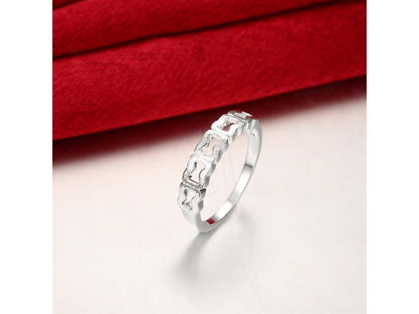 Silver  :  Silver plated new design finger ring for lady