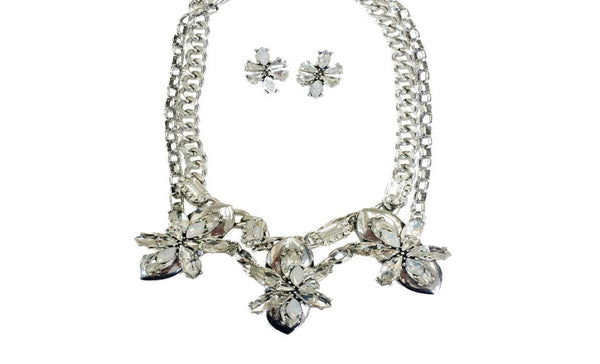 Czech Crystal & Silver Layered Necklace & Stud Earrings