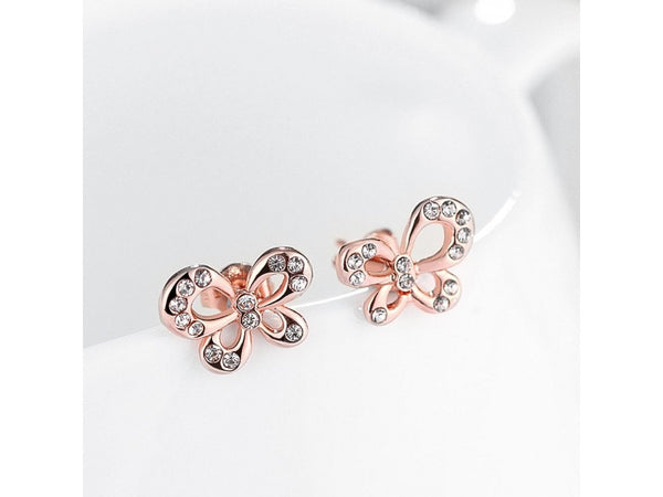 White&Rose Gold  :  Wholesale Nickle Free Antiallergic Real Gold Plated Earrings For Women New Fashion Jewelry