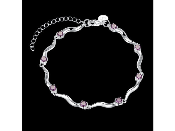 Purple&Silver  :  Wholesale High Quality Nickle Free Antiallergic New Fashion Jewelry White Hot style bracelet