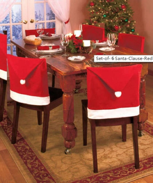 Santa Claus Red Hat Chair Back Covers