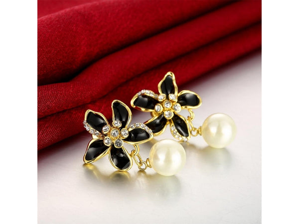White&Gold  :  Wholesale Nickle Free Antiallergic White Real Gold Plated Earrings For Women New Fashion Jewelry