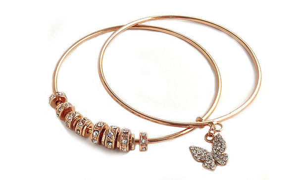 Swarovski Elements Crystal Butterfly Bangle Rose Gold