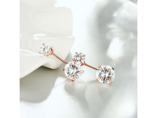 White&Rose Gold  :  Wholesale Nickle Free Antiallergic 18K Gold Plated Earrings For Women New Fashion Jewelry