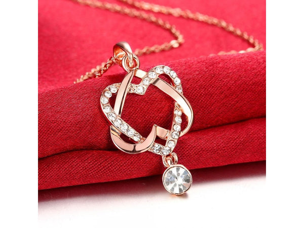 White&Rose Gold  :  Wholesale Nickle Free Antiallergic Real Gold Plated Necklace pendants New Fashion Jewelry