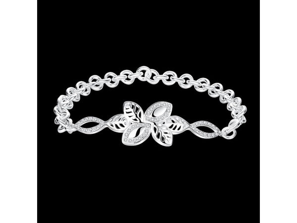 White&Silver  :    Latest Women Classy Design silver plated bracelet Factory Direct Sale