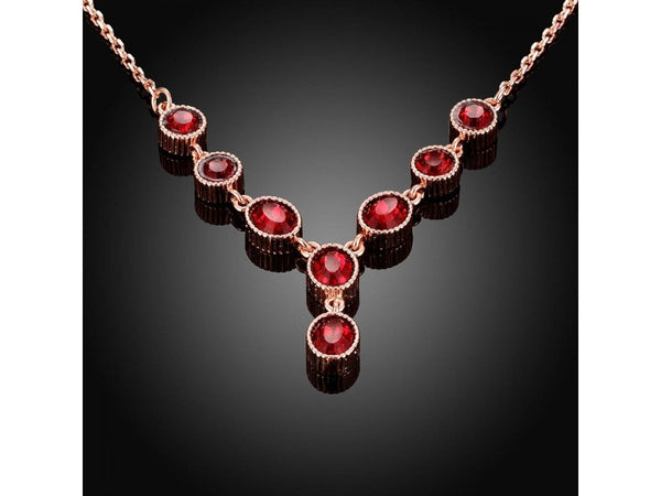 Red&Rose Gold  :  High Quality zircon necklace Fashion Jewelry Free shopping 18K gold plating necklace