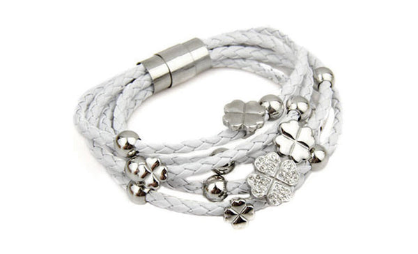 White Leather Flower Bracelet