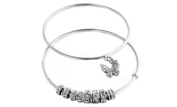 Crystal Butterfly Bangle Silver
