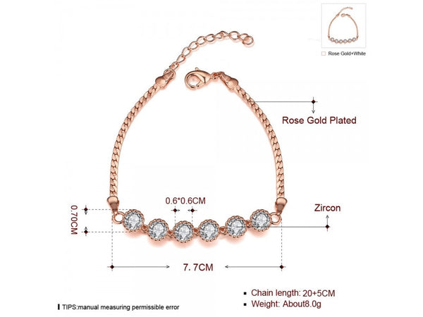 White&Rose Gold  :  Graceful Inlaid White Zircon Different Types New Gift bracelet