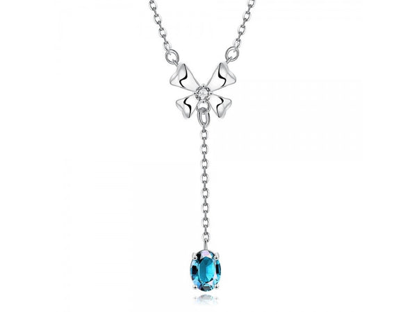 blue&Platinum  :  High Quality zircon necklace Fashion Jewelry Free shopping 18K gold plating necklace