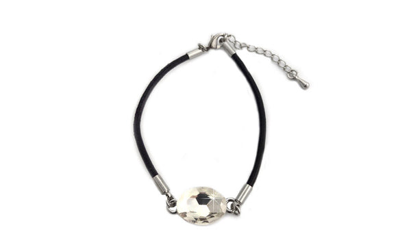 Crystal Leather Bracelet Black
