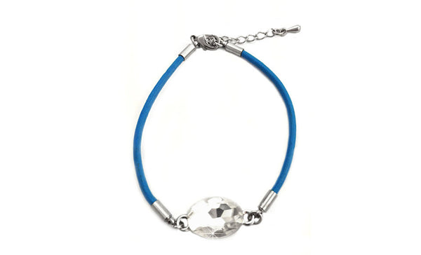 Crystal Leather Bracelet Blue