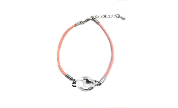Crystal Leather Bracelet Pink