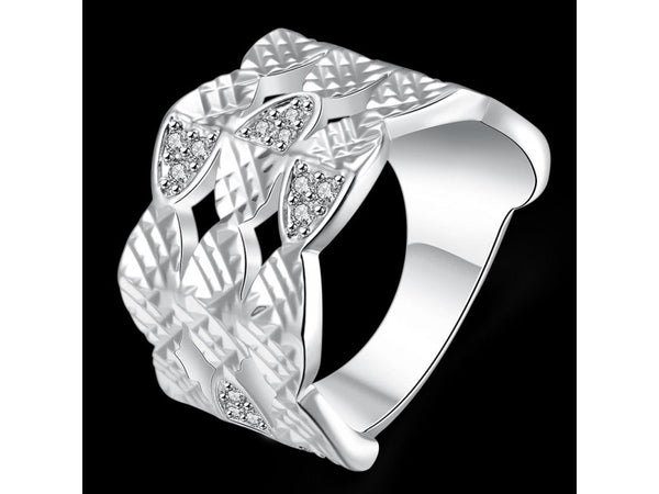 White&Silver  :  Silver plated new design finger ring for lady