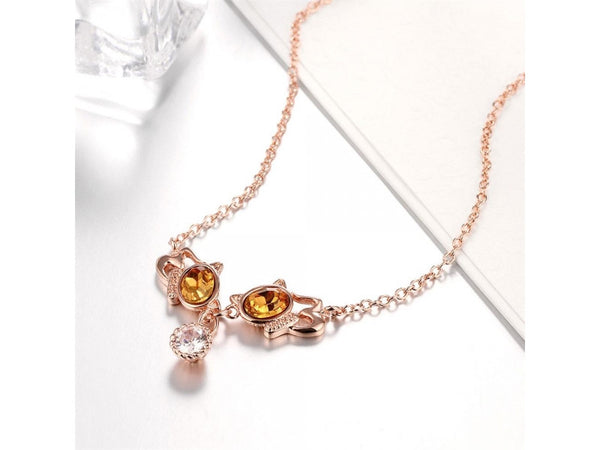 White&Rose Gold  :  High Quality zircon necklace Fashion Jewelry Free shopping 18K gold plating necklace