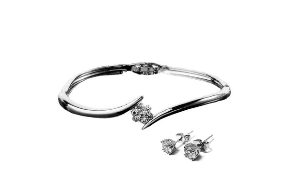 Flower Bangle Crystal & Solitaire Set