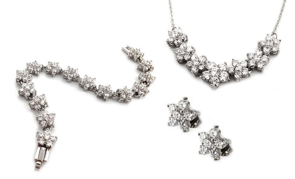 Crystal Flower Tri Set with Swarovski Elements