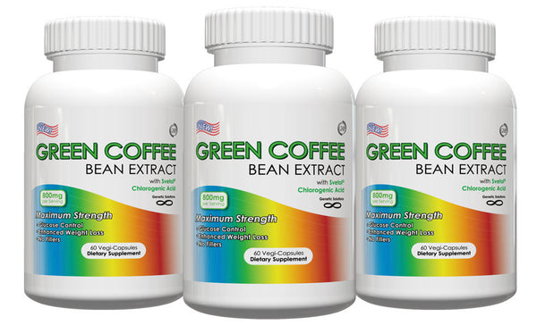 Green Coffee Bean Extract with GCA 800mg 60cap Pack of 3