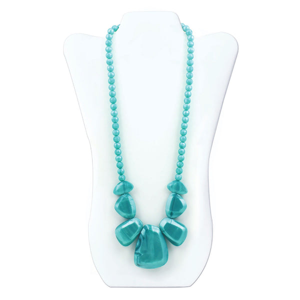 Nixi Rocca Silicone Necklace Teether in Aqua