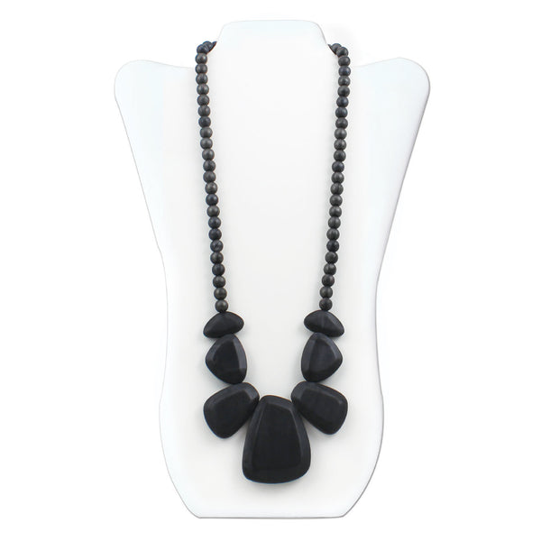 Nixi Rocca Silicone Necklace Teether in Onyx(black)