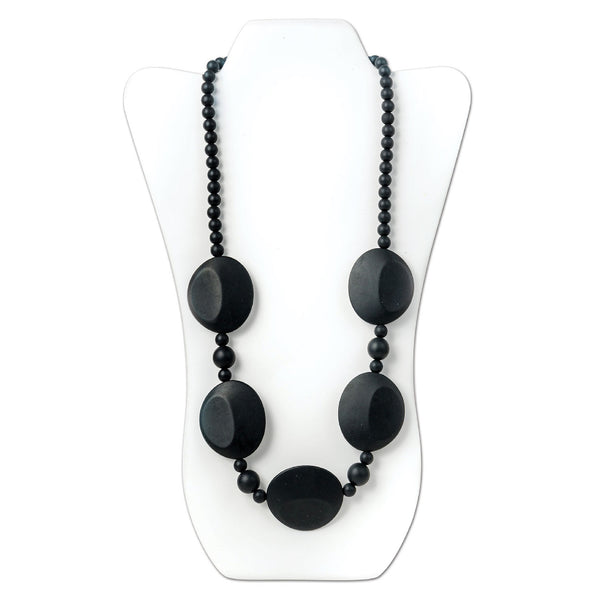 Nixi Pietra Silicone Necklace Teether in Black