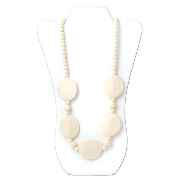 Nixi Pietra Silicone Necklace Teether in Navajo White