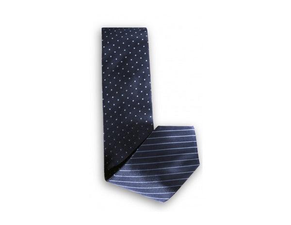 Pin Dot / Pin Stripe Navy Blue Reversible Tie