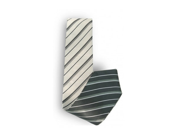 Olive / White Stripe Reversible Tie
