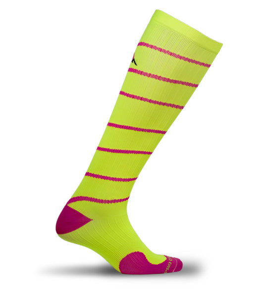 Marathon Compression Socks, Neon with Pink Swirl L/XL