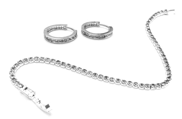 Slimline Tennis Bracelet and Loop earrings