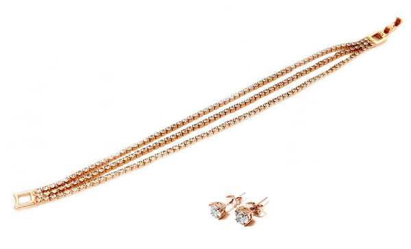 Swarovski Elements  Rose Gold Triple Strand Tennis Bracelet & Earring Set