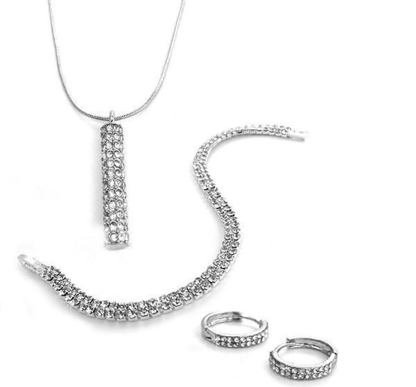 Two Row Pave Tri Set