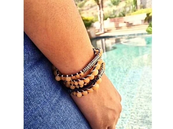 Wrap Bracelet Tan Bead on Navy Leather