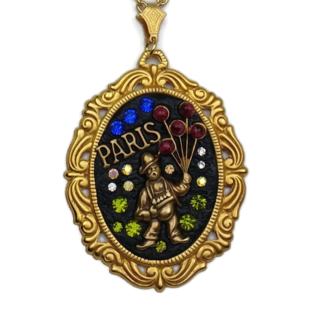 Pairs at Night, Gold Plated Balloon Vendor Pendant Necklace