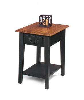 Brown Cherry Top/Black Base Rectangular End Table