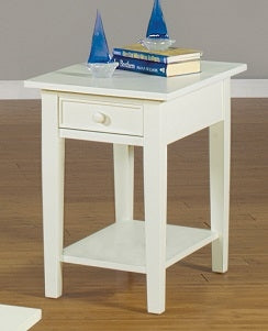 Antique White Rectangular End Table
