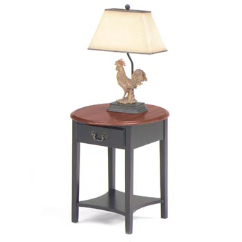 Brown Cherry Top/Black Base Petite Oval End Table