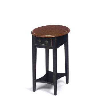 Brown Cherry Top/Black Base Oval Stand